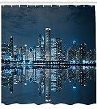 FANG2018 Cortina de Ducha Chicago Skyline Sleeping City Print para baño Cortina...