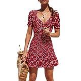 Vestido corto de verano de manga corta con cuello en V para mujer, rojo, S