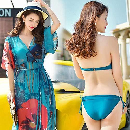 Chiffon strandkleding kwastje strandjurk bikini, bikini driedelig pak, dames sexy grote borsten verzameld strand rok-foto Color_XL, badpak strandkleding lingerie
