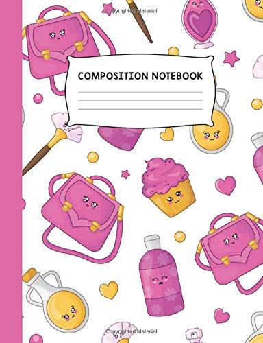 Composition Notebook: Purse Cupcake and Makeup Colorful Trendy Design Wide Ruled Notebook Journal
