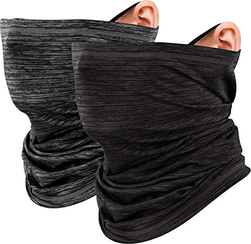 LUROON Hombre Mujer Braga Cuello Moto Pasamontañas Bragas de Cabeza Turbante Sol UV Protección Multifunción Bandana para Senderismo Ciclismo Acampada Correr Aire Libre (Negro+Gris)