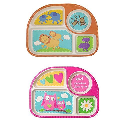 Kinderteller Set, Baby Teller Kleinkind Teller BPA-frei Menü Tablett (2er Set) Menüteller bambus für Babys und Kinder (Eulen & Löwe)