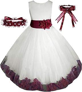 Free Matching Hair Wreath Big/Little Girls' Flower Girl Pageant Easter Wedding Formal Dress