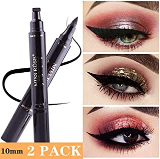 Winged Eyeliner Stamp-2 Pens Dual Ended Liquid Eye Liner Pen Waterproof Smudge Proof Long Lasting eyeliner Vamp Style Tool for Wing or Cat Eye (10mm Classic Black (Thick&Thin))