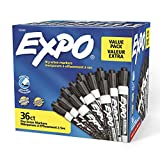 Expo Low Odor Dry Erase Marker | Chisel Tip Markers | Whiteboard Markers, Black, 36 Count
