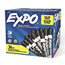 Expo Low Odor Dry Erase Marker   Chisel Tip Markers   Whiteboard Markers, Black, 36 Count