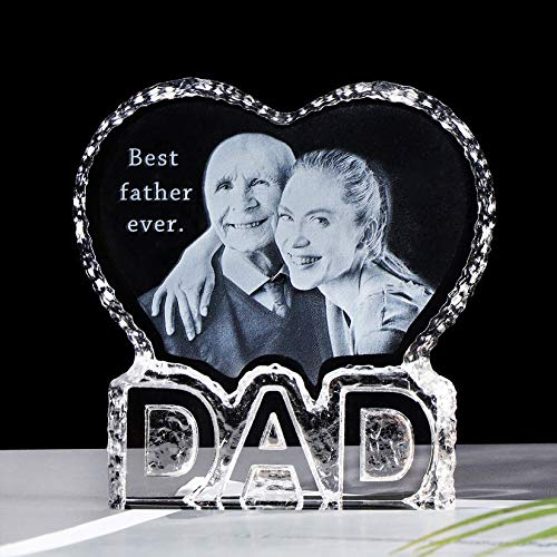 Personalised 2D Photo Laser Engraving Crystal Photo Presents for Dad Christmas, Birthday Gift for...