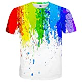 Yasswete Unisex 3D Paint Printed Casual T-Shirts Colorful Top Tees Size S