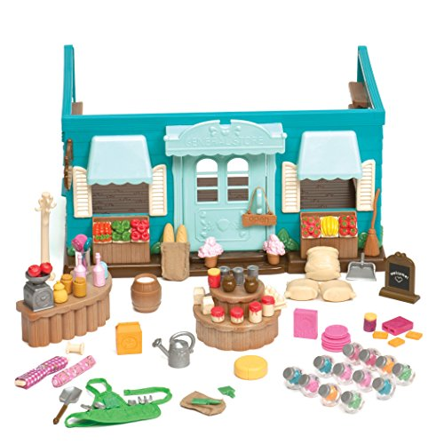 Li'l Woodzeez Shop Playset  Honeysuckle Hollow General Store  90pc Toy Set with Play Food and Shopping Accessories  Toys for Kids Aged 3 and Up