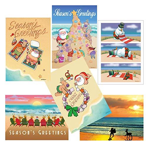 Beach Christmas Card Variety Pack - 18 Cards & Envelopes - 6 Designs, 3 Cards Per Design - Assortment #3