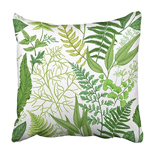 AEMAPE Throw Pillow Cases Leaf Spring Leafy Green Vintage Floral Diferentes helechos Botánico Follaje Herbal Greenery Herb 40X40 Cm Funda de cojín
