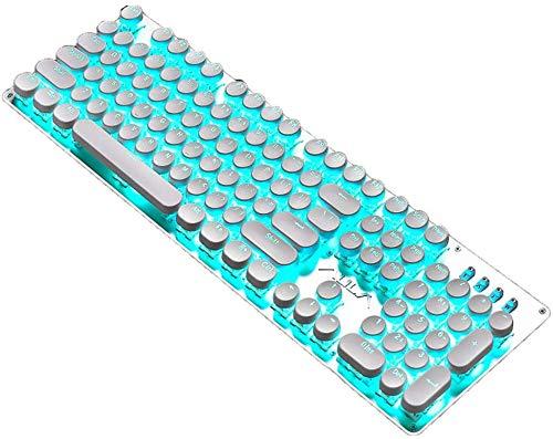 douche GGJIN 104 Touches Clavier mécanique, rétroéclairé par LED Gaming Keyboard, Retro Punk mécanique Keycap et Câble USB avec Anneau d écran magnétique antibrouillage, Pleine clé sans conflit