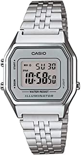 Ladies Mid-Size Silver Tone Digital Retro Watch LA-680WA-7DF