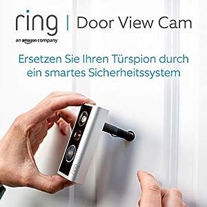 Ring Door View Cam   Video-Türklingel, die Ihren Türspion durch ein 1080p-HD-Video mit Gegensprechfunktion ersetzt   Für Türenstärke 34mm bis 55mm   Mit 30-tägigem Testzeitraum für Ring Protect
