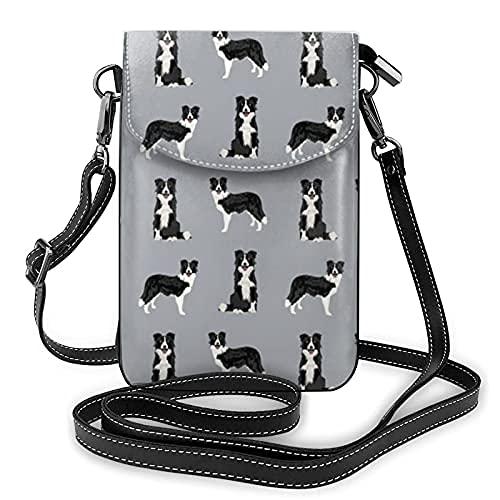 Bolso ligero de cuero de la PU pequeño bolso bandolera mini bolsa de teléfono celular bolsa de hombro con correa ajustable Border Collie perro amantes de mascotas proyectos de costura gris