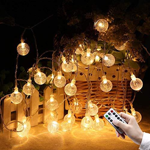 Luzes de corda Globo Luzes de fada a bateria Lâmpada 80 LED com controle remoto Luzes decorativas suspensas ao ar livre à prova d'água para quarto de crianças Quarto Dormitório Festa de Natal