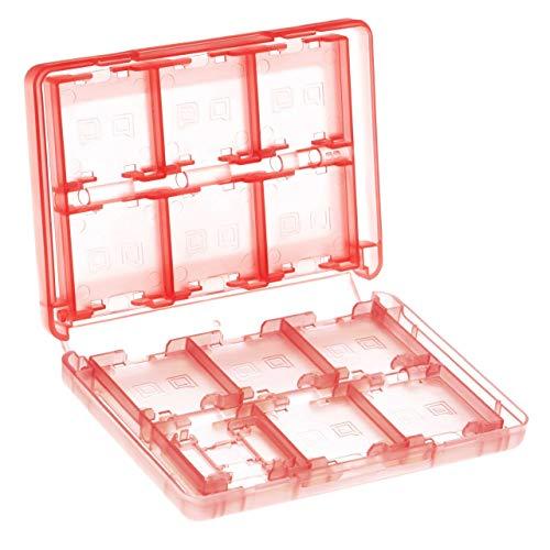 vhbw Etui Case für Konsolenspiele und Speicherkarten passend für Nintendo 3DS, 3DS LL, 3DS XL, DS Lite, DSi; rot/transparent