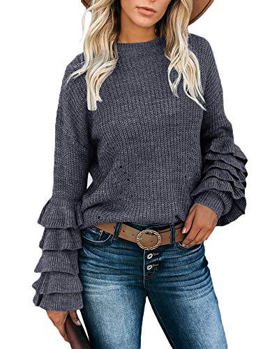 Lynwitkui Women's Ruffle Sweater Puff Long Sleeve Crew Neck Pullover Lightweight Knitted Top Dark Grey