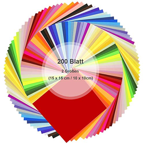 YEFAF Origami Papier, 200 Blatt Farben Faltpapier für DIY Papierkran Kunst und Handwerk Projekt, 50 2 Größen (15 x 15 cm / 10 x 10cm) (Farbe)