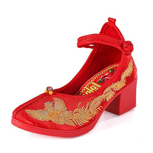 Lihcao Zapatos de la Boda de la Novia Femenina dragón Chino Phoenix Boda y los Zapatos TPR Zapatos de Boda de tacón Medio (Color : 1, Size : 8.5)