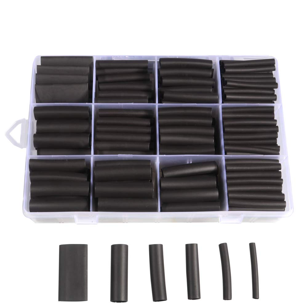 300pcs 3:1 Heat Shrink Tubing Kit, Dual Wall Adhesive Marine Heat Shrink Tube, Electrical Wire Cable Wrap Tubes Assortment with Storage Case for DIY by MILAPEAK (6 Sizes, Black)