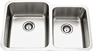 Houzer MES-3221-1 Medallion Gourmet Series Undermount Stainless Steel 60/40 Double Bowl Kitchen Sink , Small Bowl Right