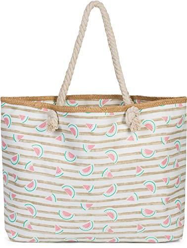 styleBREAKER Damen XXL Strandtasche mit Streifen und Melone Früchte Print, Reißverschluss, Schultertasche, Shopper 02012287, Farbe:Taupe-Weiß
