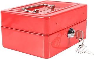Yosoo Mini Safe Security Box Household Portable Steel Lockable Cash Money Box (Red)