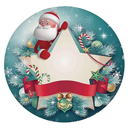 Mantel de mesa resistente a las manchas, diseño de Papá Noel, cinta de copos de nieve y árbol de caramelo, para mesas redondas de 40 a 44 pulgadas, para comedor, cocina, fiesta, color rojo y blanco