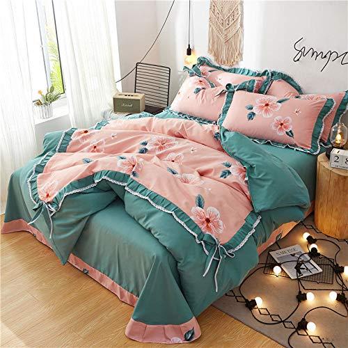 CYGJFour-piece set of soft and comfortable cotton beddingGreen flowers1.5m four-piece set