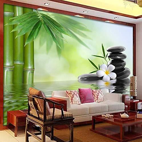 Behang van vliesbehang van zijde, 3D, personaliseerbaar, foto groen van bamboe, grote stenen, landhuis, woonkamer, sofa, tv, achtergrond 430*300