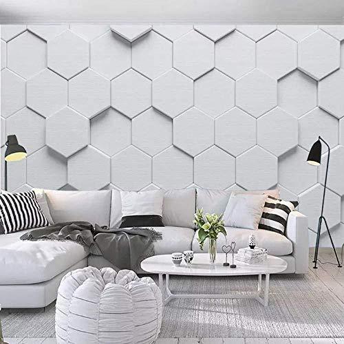 TV achtergrond behang moderne minimalistische persoonlijkheid 3D zeshoek woonkamer bank tv achtergrond behang grijs muur sticker rand DIY baksteen badkamer zilver (W)250x(H)175cm (W)250x(h)175cm