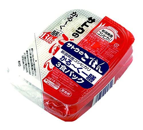 サトウ食品 サトウのごはん 新潟産コシヒカリ かる〜く一膳 3食パック(130g×3)×6個
