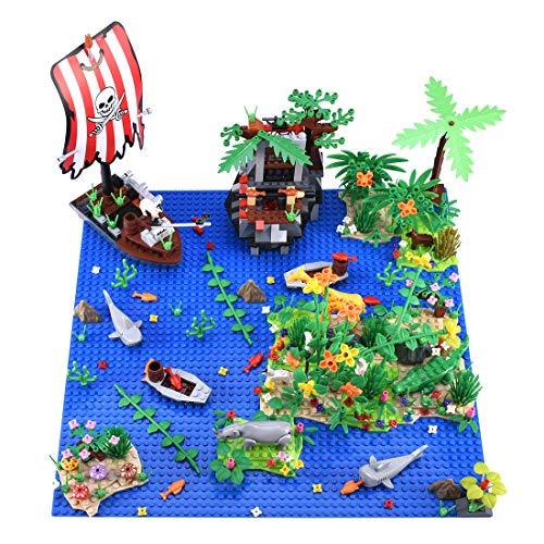 HYZM Juego de placas base de bosque tropical personalizadas, placa base de paisaje Rainforest Bay Island con árboles vegetales y animales, compatible con LEGO
