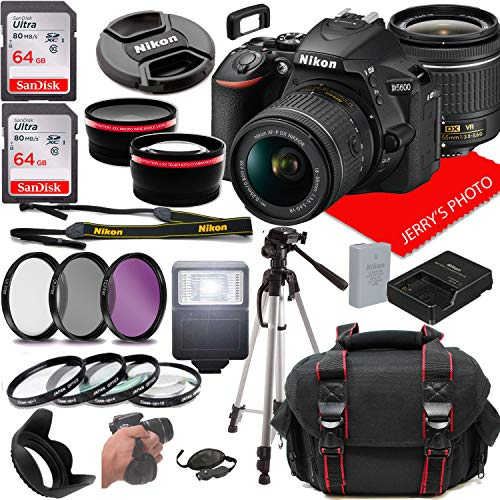 Nikon D5600 DSLR Camera w/NIKKOR 18-55mm f/3.5-5.6G VR Lens + Case + 128GB Memory (26pc Bundle)