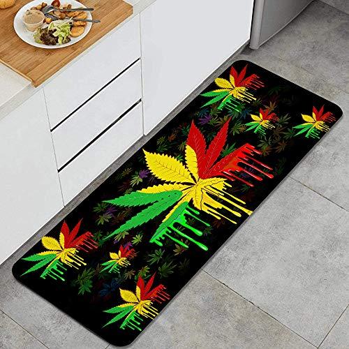 GEEVOSUN Hoja de Marihuana Rasta Colors Que gotea Pintura Alfombrillas de Cocina Antideslizantes Felpudo Lavable Juego de Alfombras de Microfibra