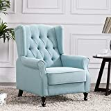 Altrobene Accent Chair, Modern Fabric Tufted Arm Chair for Living Room Bedroom Office, Light Blue