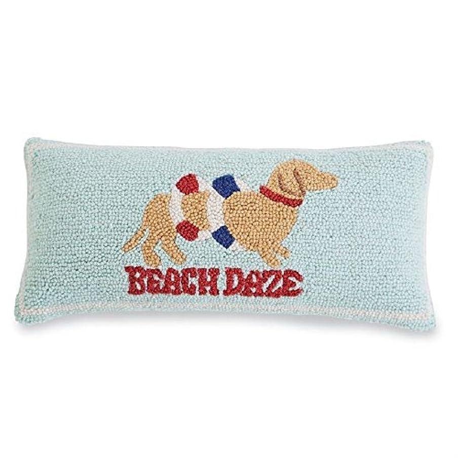 顎道路多用途Mud Pie Beach Daze Puppy Woven Wool Hooked Pillow [並行輸入品]