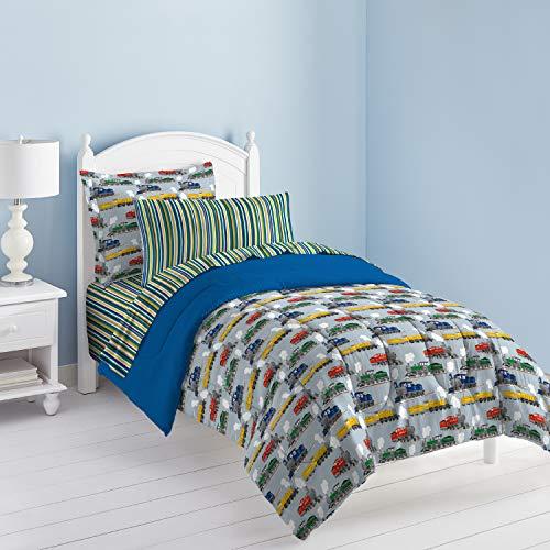 Dream Factory Trains Ultra Soft Microfiber Boys Comforter Set, Blue, Twin,2A749001BL