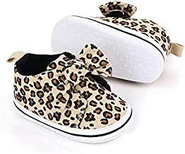 Infant Newborn Shoes Baby Girl Boy Shoes 6-12 Months Babies Sneakers, Soft Sole High Top Leopard Walking Shoes for 1 Year Old