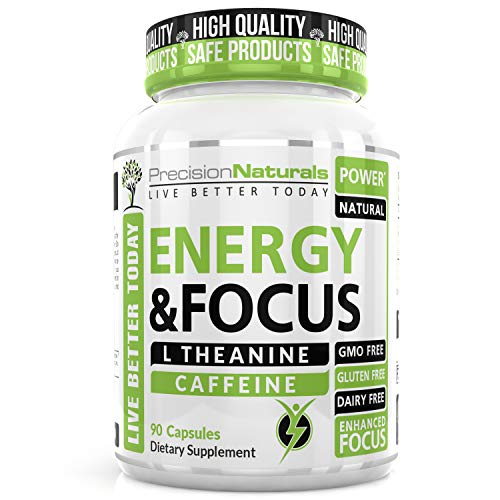 Energy Focus Pills - Natural Caffeine L Theanine Supplement – Memory, Clarity Brain Booster - No Crash/Jitters Premium Cognitive Stack - Best Mental Performance Nootropic Formula for Men and Women 60