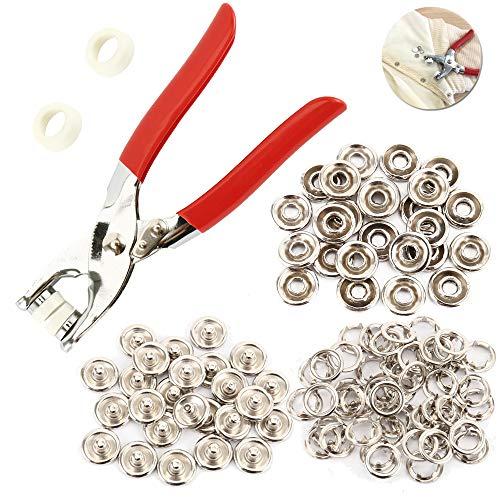 Enjoygoeu Druckknopf Set Jersey mit Zange Druckknöpfe Metall Nähfrei Buttons Hohle Feste Knöpfe 100 teilig Werkzeug für DIY Basteln Kleidung