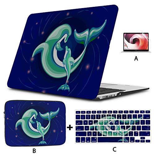 MacBookPro13inchCase(New Pro UBS-C,2020,A2289/A2251),Father Dolphin Communicates His Child Spends Laptop Case with Keyboard Cover + Sleeve + Screen Protector