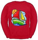 Hariz - Suéter para niños, velero, tractor Plus, tarjeta de regalo rojo 6 años