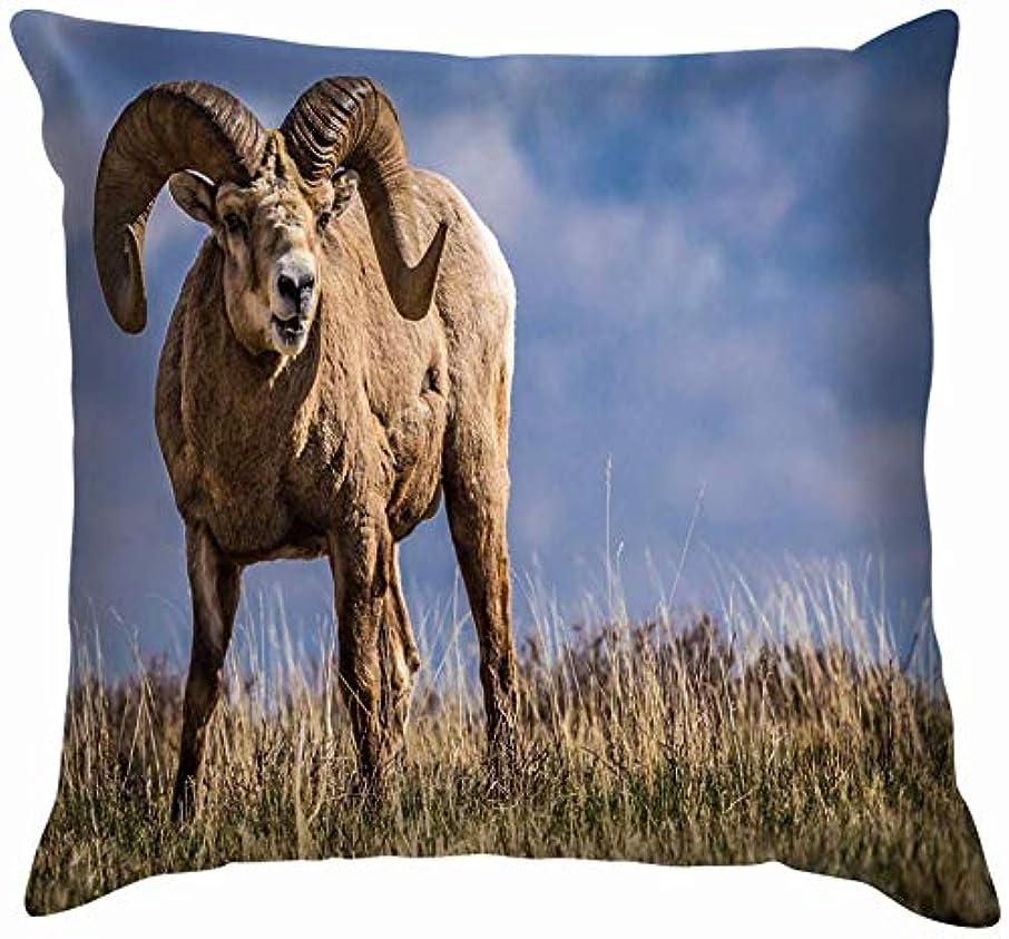 印刷するこっそり太字野生のビッグホーン羊アルバータ州南部の動物野生動物自然投げ枕カバーホームソファクッションカバー枕カバーギフト45x45 cm
