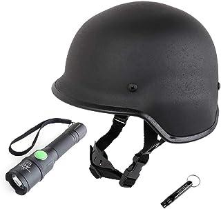 SHENKEL シェンケル M88 PASGTタイプ スチール製 フリッツヘルメット (ブラック) & フラッシュライト & ホイッスル 3点 セット 防災 作業 多目的 フリーサイズ 鉄製