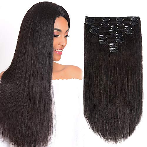 """24"""" Clip in Hair Extensions Double Weft Remy Human Hair Extensions Clip in 120g 8Pcs 20Clips for Women Silky Straight Unprocessed Brazilian Virgin Natural Color Human Hair Clip in Extensions"""