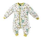 Baby Schlafsack mit Beinen Warm Gefüttert Winter Langarm Winterschlafsack mit Fuß 2.5 Tog (Weißwurm,S/Höhe 77cm-87cm)