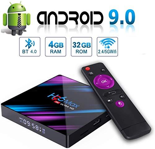 H96 Max Android 9.0 TV Box 【4GB RAM+32GB ROM】RK3318 Quad-Core 64bit Cortex-A53 soporte 2k*4K, WiFi 2.4G/5G,BT 4.0 , USB 3.0 Smart TV Box