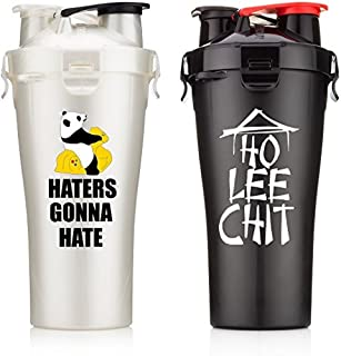 Hydra Cup Dual Threat - Protein & Pre Shaker Bottles, Shaker Cup, White & Black, 28oz, 2 Pack (2) [並行輸入品]